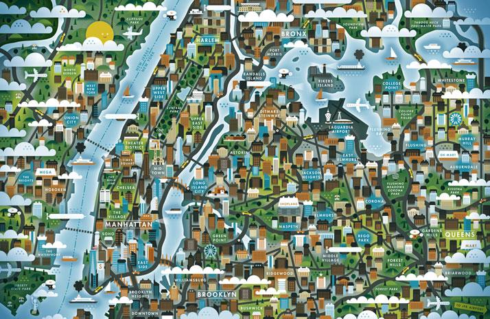 品牌设计公司设计的漫画城市地图